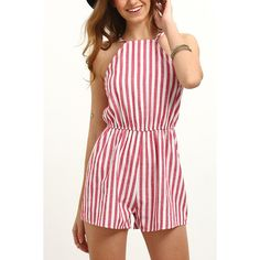 Yoins Sexy Stripe Pattern Open Back Playsuit ($12) ❤ liked on Polyvore featuring jumpsuits, rompers, halter rompers, halter romper, stripe romper, striped rompers and halter-neck tops