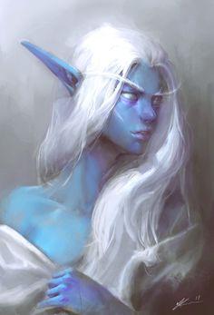Procreate Elf Painting by Jeff Chen Concept Artist / Illustrator Warcraft Art, World Of Warcraft, Elves Fantasy, Fantasy Art, Dark Fantasy, Dnd Characters, Fantasy Characters, Character Portraits, Character Art