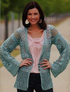 Leisure Arts Relaxed Fashion - Crochet Patterns. Casual dressing has never looked so good! These light and lacy designs were crocheted using Caron Spa.  //  ♡ I LOVE THIS SWEATER!!!  ♥A