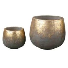 Set Of 2 Terra Tall Gold Pots By DK Living