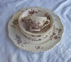 Mason's Watteau 5 pc. Brown Transferware Collection with Imperfections Dinner Plate, Coupe Cereal Bowl, Berry Bowl, Tea Cup, Bread Plate