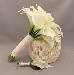 Real Touch Calla Lily Bridal Bouquet Groom's Boutonniere in White with Lace Wrap. $120.00, via Etsy.
