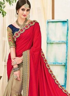 Amazing Patch Border Work Georgette Half N Half  Saree #indian #saree #trendy #red #bridal#bollewood #party wear #traditional#online #mangosurat#style #boutiques #shopping #fashion #modal #social #branding #sales #marketing #business #discount #deal #success #ethnic #creation #embroidery #classic #cloth #clothing #bridal wear#jardoshi #work #chiffon #acteress #navel #desi #new #woman fashion #designersuit #bridal