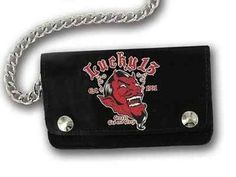AUTHENTIC LUCKY 13 GREASE GAS AND GLORY RED DEVIL CHAIN WALLET MOTORCYCLE TATTOO