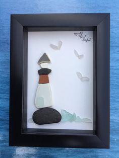 Maine Lighthouse - Framed Sea Glass Art – Nautical Home Décor – Coastal Décor – Nautical Wall Art – Beach House Décor – Sea Glass Art