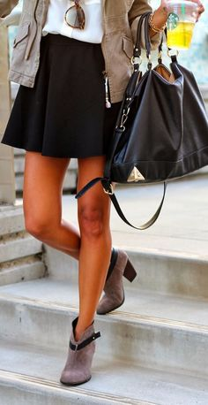 FASHION FIX: Booties! Put a girly girl twist on your booties by pairing them with an above-the-knee flowy skirt.