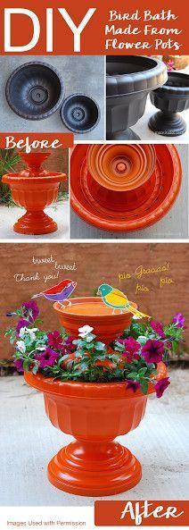 DIY Bird Bath Made From Flower Pots