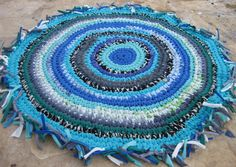 "Mermaid Round Crocheted Fabric Rag Rug ... Upcycled 36"". $89.00, via Etsy."