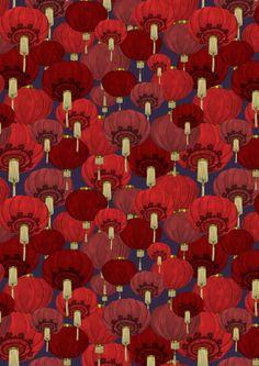 Chinese Lanterns by Deborah Ballinger Illustration   Society6