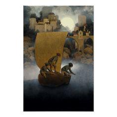 Wynken Blynken and Nod by Maxfield Parrish 1902 Poster - diy individual customized design unique ideas