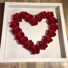 Large Paper Flowers, Paper Roses, Diy Flowers, Custom Shadow Box, Diy Shadow Box, Cool Paper Crafts, Diy And Crafts, Flower Shadow Box, Dollar Store Crafts