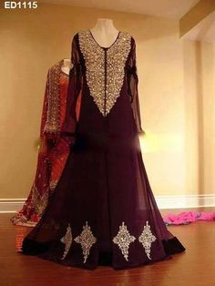 Partywear Gown Christmas Style FashionLong Dress Engagement Design Indian ED1115 #EthnicDresses #SalwarKameez