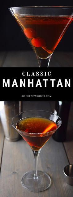 The best classic Manhattan cocktail is made with bourbon, vermouth, and bitters. Bourbon Cocktails, Classic Cocktails, Fun Cocktails, Cocktails Vermouth, Drinks With Bourbon, Sour Cocktail, Cocktail Making, Cocktail Drinks, Cocktail List