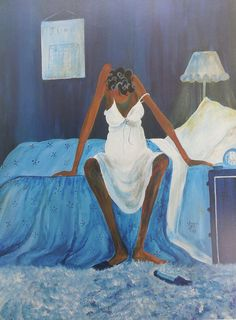 Blue Monday By Annie Lee African American Art 16x20