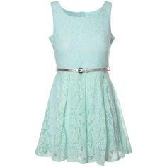 Glamorous Mint Lace Belted Dress ($50) ❤ liked on Polyvore featuring dresses, vestidos, green, mint lace dress, skater dress, sleeveless cocktail dress, green lace dress and summer cocktail dresses