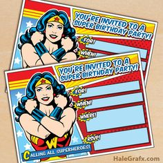 Free Printable Wonder Woman party invitation Source by halegrafx Wonder Woman Birthday, Wonder Woman Party, Birthday Woman, Birthday Party Invitations Free, Superhero Invitations, Wedding Invitations, Superhero Birthday Party, Birthday Party Themes, 5th Birthday