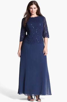 42327d8b7ba Alex Evenings Plus Size Glitter Gown and Jacket ( I like this style ...