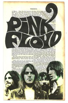 PINK FLOYD Art Print on 1855 Antique Book Page ... Victorian Era ... Rock and Roll meets Ancient History ...