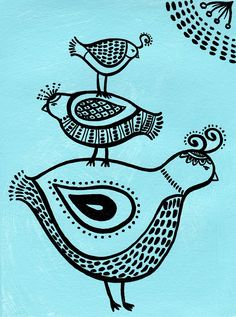 Bird Totem on blue Art Print by pipodoll on  Etsy - inspiration for Quail Totem?