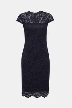 Zählt zu unseren eleganten Bestsellern: figurbetonendes Etui-Kleid aus floraler Spitze, mit semi-transparenter Schulter-Partie, angedeuteten Ärmeln und tollem Stretchkomfort! Chiffon, Komplette Outfits, Models, Pastel Blue, Floral Lace, Best Sellers, Sheath Dress, Neckline, Fabric