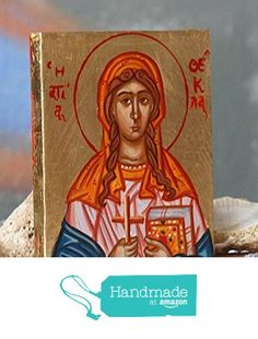 Saint Thekla-byzantine icon of the St Tecla hand-painted religious art made in Greece from Angelicon https://www.amazon.com/dp/B016GG3G16/ref=hnd_sw_r_pi_dp_eVQpyb11GYD6G #handmadeatamazon