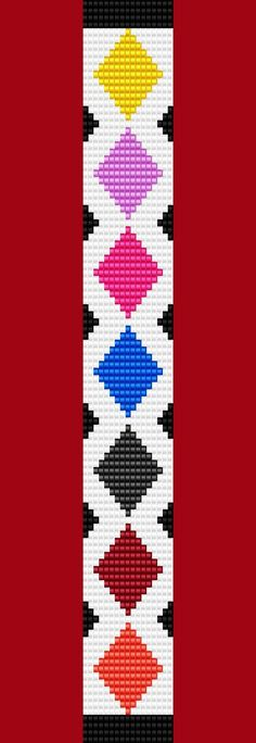 Argyle Diamond Bracelet Thin Bead Bracelet Pattern Loom Stitch