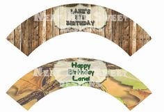 Set of 6 Printable Hunting Themed Cupcake Wrappers - Camo Cupcake Wrappers - Birthday Cupcake Wrappers - Hunting Party Cupcake Wrappers #huntingthemedparty