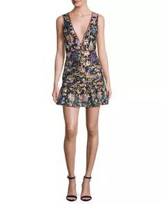 ba&sh -- Jade Metallic Floral Silk V-Neck Mini Dress, Noir