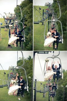 chairlift wedding pics. too cute. and the couple is one of my favorites :)