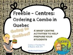 In this free sample, you'll receive 4 centre activities to use to teach students about ordering a combo in a fast food restuarant in Quebec, with a. Learn French Fast, How To Speak French, French Teaching Resources, Teaching French, Teaching Ideas, Communication Orale, Fun Classroom Activities, Core French, French Classroom