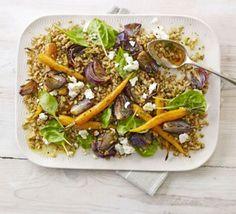 Farro salad with roasted carrots & feta