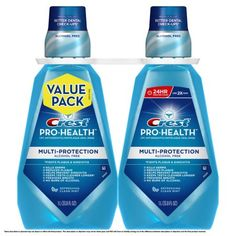 Crest Pro-Health Multi-Protection Refreshing Clean Mint Flavor Mouthwash Twin Pack 2 L Check Up, Bad Breath, Mouthwash, Alcohol Free, Oral Health, Baby Bottles, For Your Health, Bath And Body, Dental