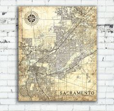 SACRAMENTO California Vintage map SACRAMENTO City California Vintage map Art Print Sacramento poster USA retro old map United States America