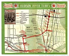 1909 Hudson River Tubes Map.  These train tunnels are still in operation in 2015 as PATH (Port Authority Trans Hudson)...Good idea to use as starting point for tunnel map of Underfoot