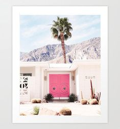Pink Door Art Print palm springs wall art architecture mid | Etsy Fine Art Prints, Framed Prints, Apartment Makeover, Wall Art Designs, Art Reproductions, Art And Architecture, Palm Springs, Paper Design, Fashion Prints