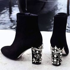 Cheap botas shoes, Buy Quality shoes fashion women directly from China shoes woman Suppliers: Floral Crystal Chunky High Heels Women Black Suede Ankle Booties Shoes 2017 Fashion Round Toe Jeweled Designer Botas Shoes Women Dr Shoes, Crazy Shoes, Cute Shoes, Me Too Shoes, Heeled Boots, Shoe Boots, Ankle Boots, Dress Boots, Shoe Closet