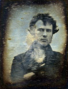 "Self Portrait ~ Robert Cornelius Daguerreotype, 1839   Cornelius wrote on the back of this image  ""The first light Picture ever taken. 1839."""