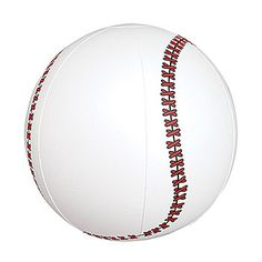 These Inflatable Baseballs have the look of a real baseball with the bright white background and bold red stitching. Our 6 inch Inflatable Baseballs are sold in packages of twelve.