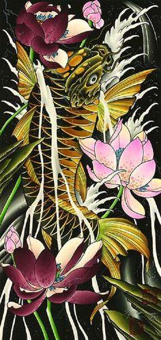 Solo Run by Cody Meyer Koi Fish Lotus Flowers Tattoo Canvas Art Print