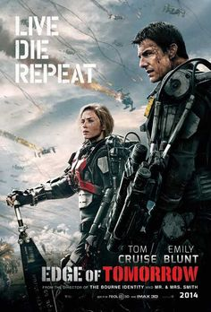 Edge of Tomorrow on DVD October 2014 starring Tom Cruise, Emily Blunt, Charlotte Riley, Bill Paxton. Bill Cage (Cruise) is an officer who has never seen a day of combat when he is unceremoniously dropped into what amounts to a suici Movies 2014, Hd Movies, Movies To Watch, Movies Online, Movies And Tv Shows, Movies Free, Blockbuster Movies, Edge Of Tomorrow, Tomorrow Today