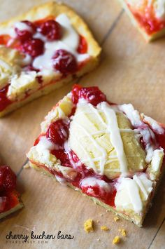 Cherry kuchen bars-moist, chewy and a little crisp around the edges