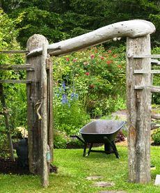 A Unique Driftwood Arbor For A Garden Entry