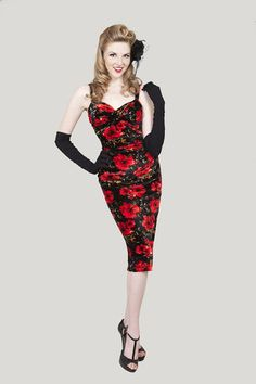 Bettie Page - Glam Poppy Dress. I just bought this dress ... I am so in love with it.