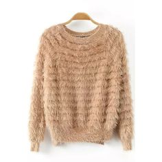 Solid Color Mohair Long Sleeve High Low Pullover (1.390 RUB) ❤ liked on Polyvore featuring tops, sweaters, beige sweater, long length sweaters, round neck top, longer sweater and long sleeve pullover