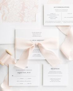 Complete Wedding Invitations with Cashmere Ribbon and Enclosures