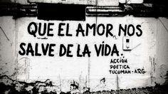 Que el amor nos salve la vida #Acción Poética Tucumán #calle Urban Art, Book Quotes, Wise Words, Thoughts, Reggae, Romance, Posters, Paintings, Live