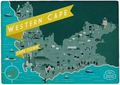 Promotional postcard from Radio in Cape Town, South Africa. Modern Graphic Design, Graphic Design Typography, Graphic Design Inspiration, South Africa Map, Provinces Of South Africa, Radios, Westerns, Postcard Design, Map Design