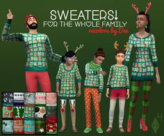 Sims 4 CC's - The Best: Christmas Sweaters for All by Deeetron