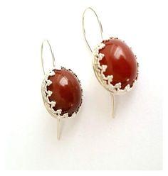 """""""Orange Carnelian Earrings - Silver Earrings - Large Gemstone Earrings - Drop Earrings - Orange Gemstone - Victorian Crown Earrings"""" by simajewelry ❤ liked on Polyvore"""