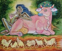 Krishna for today: the musical notes- dance of the cows. Watercolour.